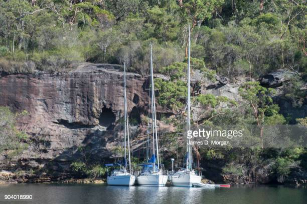 Boats in and around the Hawkesbury River area on January 08 2018 in Sydney Australia Thousands of holidaymakers and locals enjoy this region of...