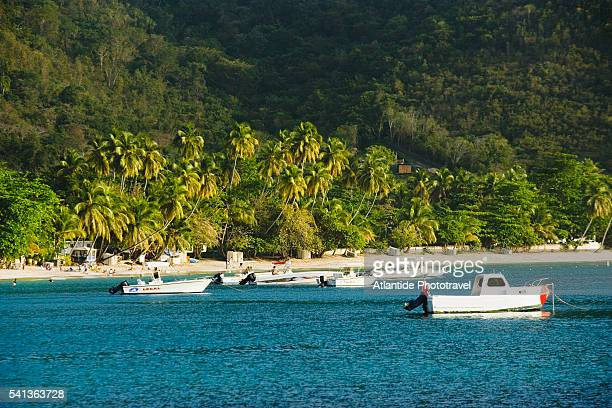 boats in bay by beach - cane garden bay stock pictures, royalty-free photos & images