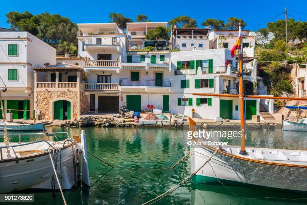 boats in canal in cala figuera mallorca spain - majorca stock pictures, royalty-free photos & images