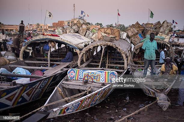 Boats in dock at Mopti, on the River Niger, in central Mali, November 19. 2012. Crews said traffic on the river had dwindled after Al Qaeda-linked...
