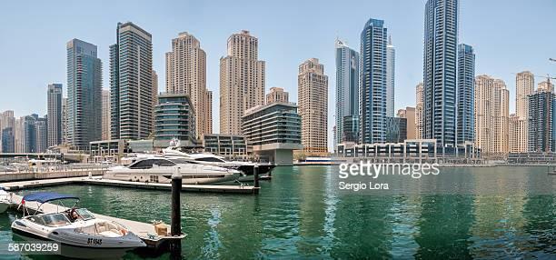 Boats in Dubai Marina skyline