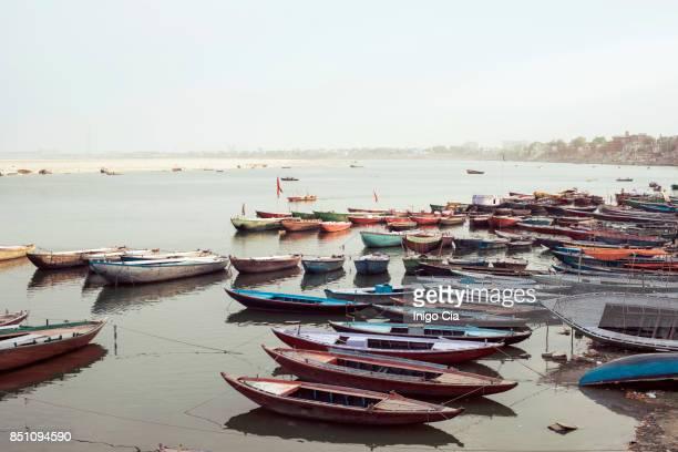 Boats in Ganges river at sunrise