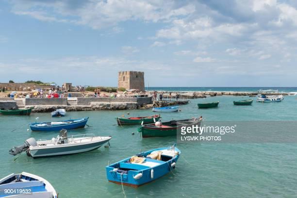 boats in harbor san vito, bari - bari foto e immagini stock