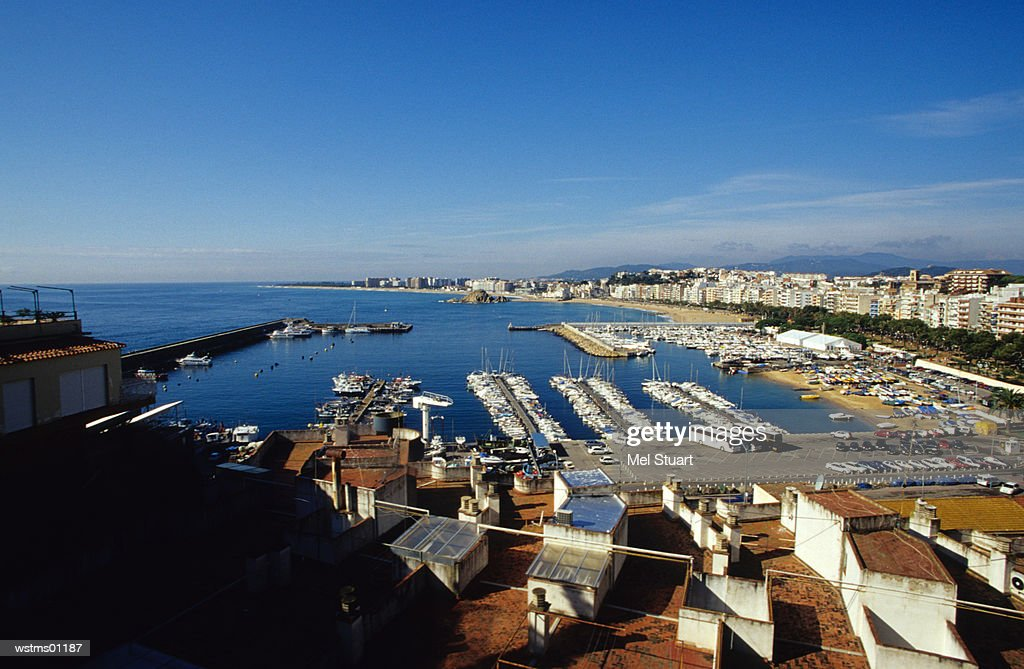 Boats in harbour, Blanes, Costa Brava, Catalonia, Spain : ストックフォト