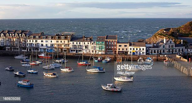 boats in harbour - ilfracombe stock photos and pictures