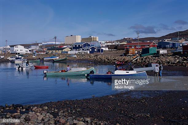 boats in iqaluit - baffin island stock pictures, royalty-free photos & images