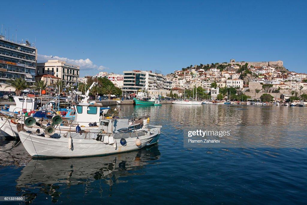 Boats in Kavala harbor : Stock Photo