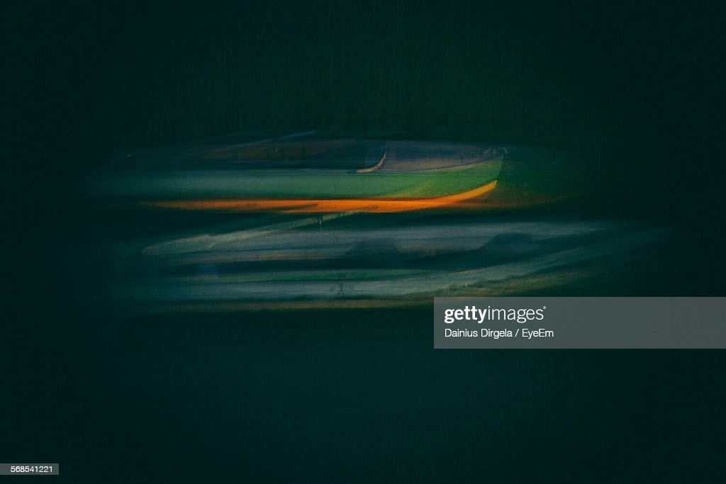 Boats In Lake At Night : Stock Photo