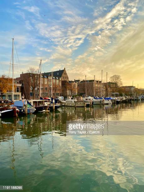 boats in marina at harbor - dordrecht stock pictures, royalty-free photos & images