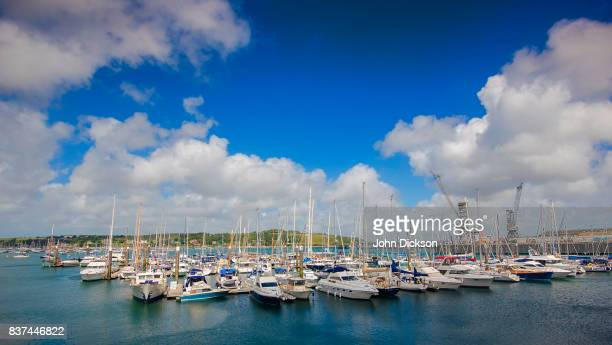 boats in marina - falmouth england stock pictures, royalty-free photos & images