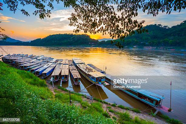 Boats in Mekong River in Luang Prabang