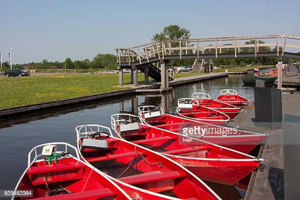 Boats in pond in Giethoorn Village