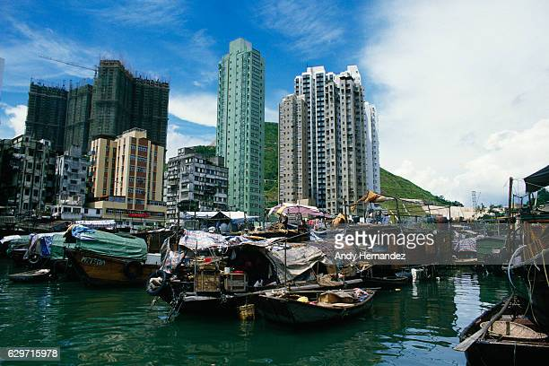 Boats in the area of Aberdeen of Hong Kong