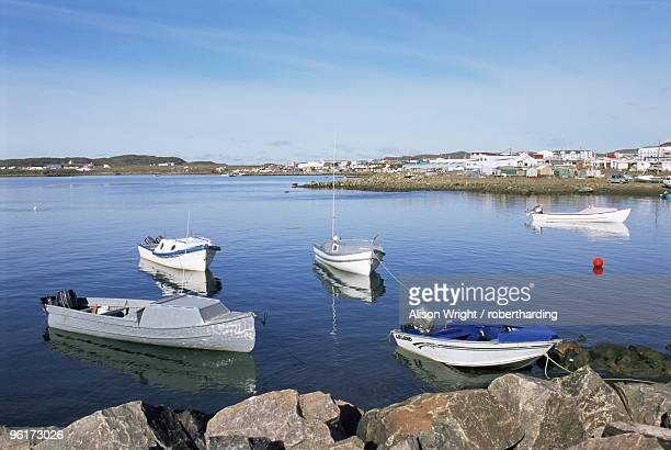 Boats in the bay, Iqaluit, Baffin Island, Canadian Arctic, Canada, North America
