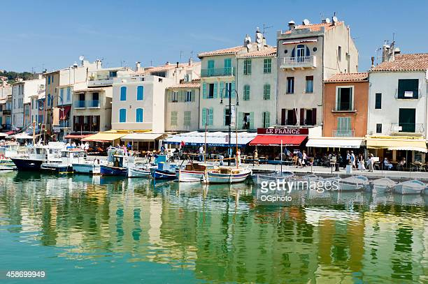 boats in the coastal village of cassis, france - ogphoto stock photos and pictures