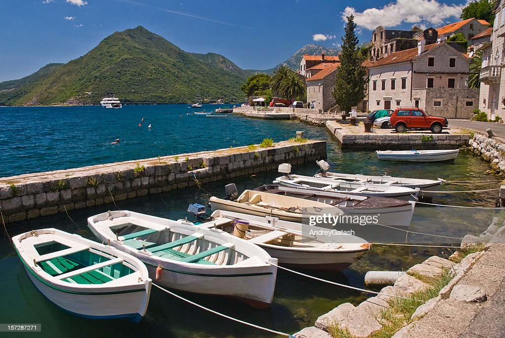 Boats in the dock, Kotor bay (fiord), Montenegro