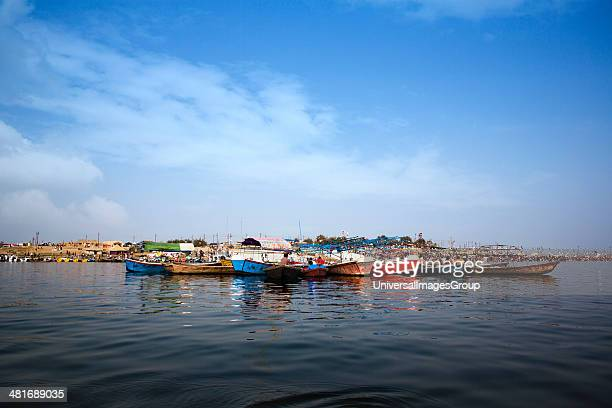 Boats in the Ganges River during Kumbh Mela Festival Allahabad Uttar Pradesh India