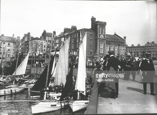 Boats in the harbour at Bridlington, Yorkshire, circa 1913.