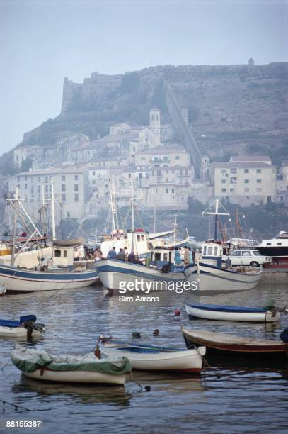 Boats in the harbour at Porto Ercole Tuscany August 1967