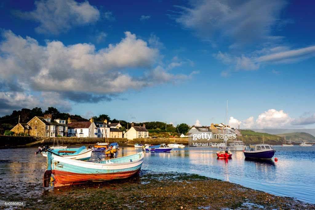 Boats in the harbour of Newport Parrog, Pembrokeshire : Stock Photo