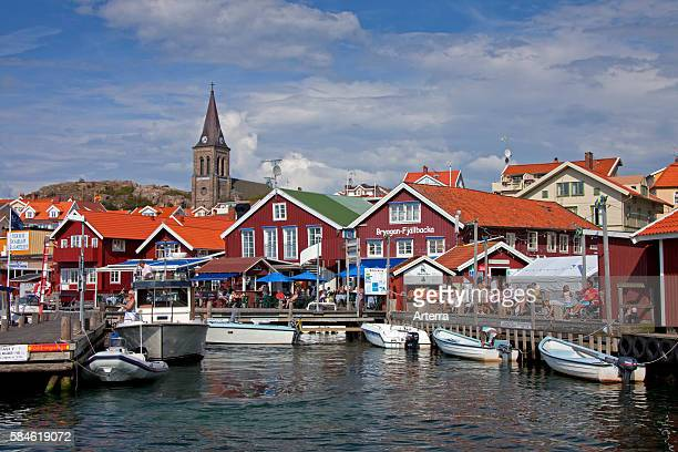 Boats in the harbour of the fishing village Fjallbacka Bohuslan Sweden