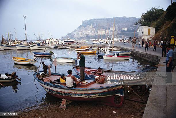 Boats in the harbour Porto Ercole Tuscany August 1967