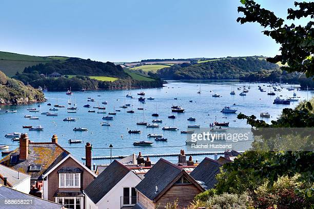boats in the kingsbridge estuary, salcombe, devon - estuary stock pictures, royalty-free photos & images