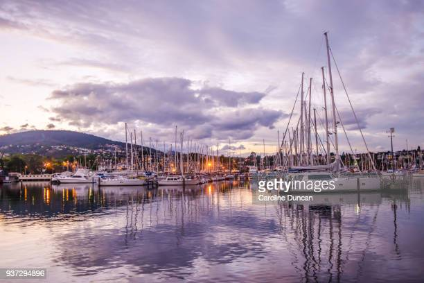 boats in the marina at sandy bay, hobart, tasmania - hobart tasmania stock pictures, royalty-free photos & images