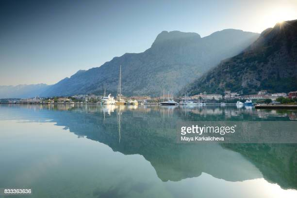 Boats in the morning at Kotor bay, Montenegro