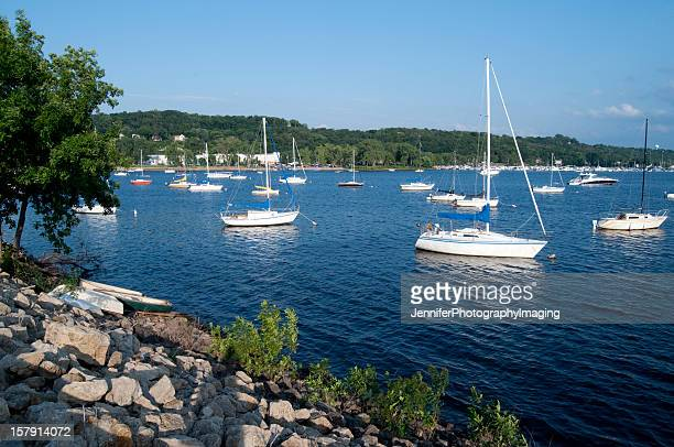 Boats in the St Croix River on a summer day