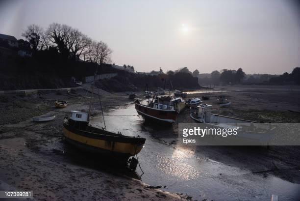Boats in the village and seaside resort of Abersoch Llanengan Gwynedd Wales September 1982