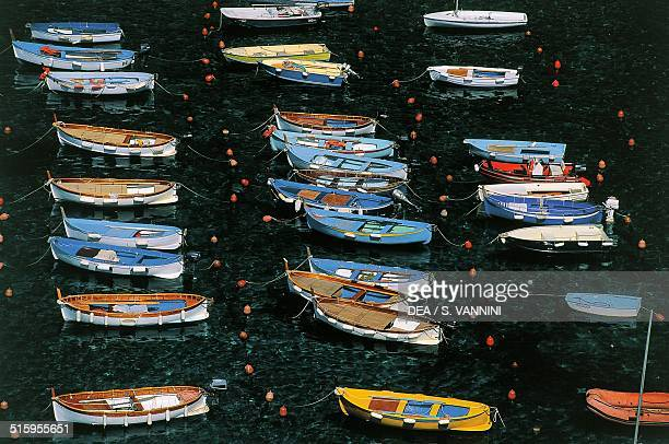 Boats in Vernazza harbour Cinque Terre National Park Liguria Italy
