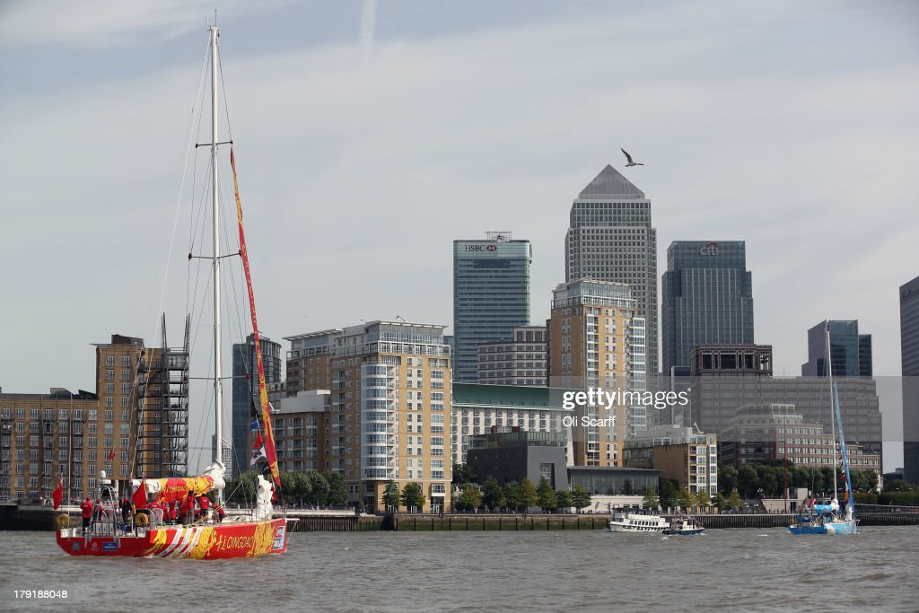 Boats, including the 'Qingdao' yacht (L), depart from St Katharine Docks for the start of the 'Clipper 2013-14 Round the World Yacht Race' on September 1, 2013 in London, England. The race is set to be the largest in the event's history with 12 yachts manned by 670 crew from over 40 different nations. The 40,000 mile, 8 leg course is set to visit six continents and take approximately eleven months to complete.