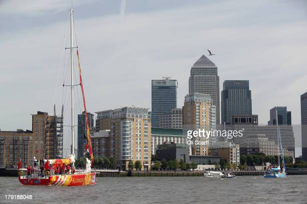 Boats including the 'Qingdao' yacht depart from St Katharine Docks for the start of the 'Clipper 201314 Round the World Yacht Race' on September 1...
