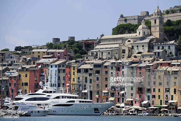 Boats moor in the little harbour of Portovenere near Lerici south of Genova on August 11 2010 A group of Dolphins living in the area is monitored by...
