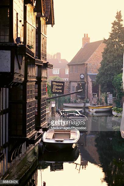 Boats moored at a canal, Canterbury, Kent, England
