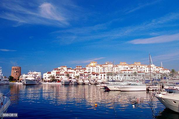 Boats moored at a harbor, Puerto Banus, Costa del Sol, Andalusia, Spain