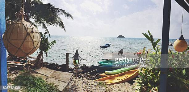 Boats Moored At Beach Seen From Hut