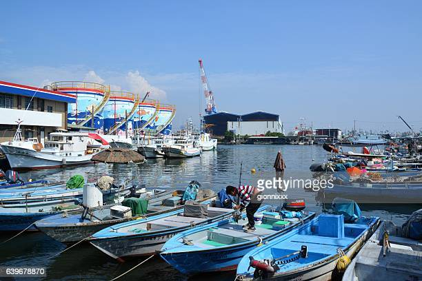 Boats moored at Cijin island, Kaohsiung bay, Taiwan