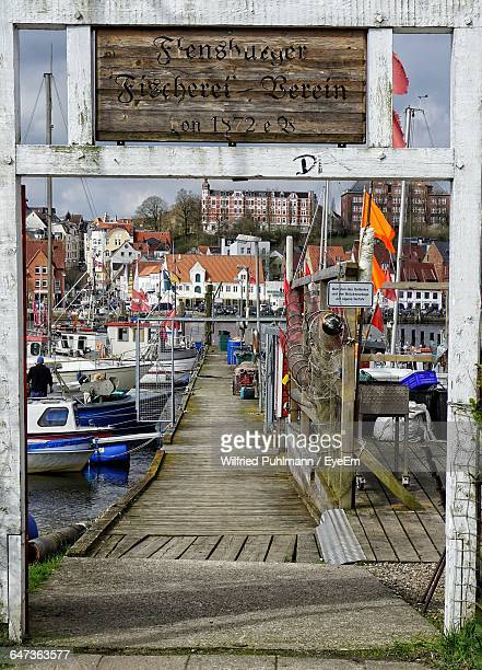 Boats Moored At Flensburg Harbor Seen From Gate
