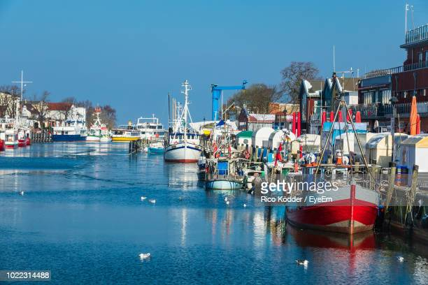 boats moored at harbor against clear blue sky - rostock stock pictures, royalty-free photos & images