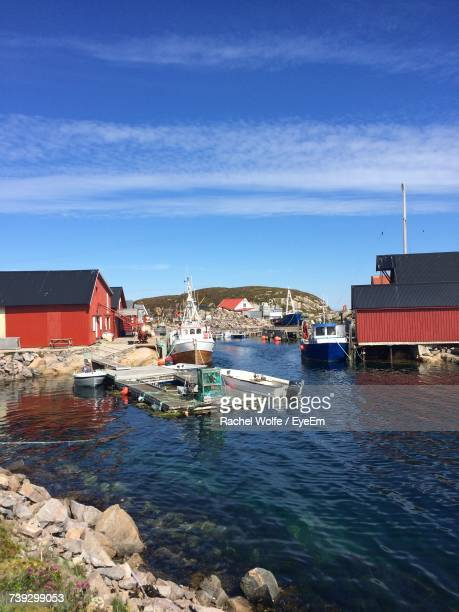 boats moored at harbor against sky - rachel wolfe stock pictures, royalty-free photos & images