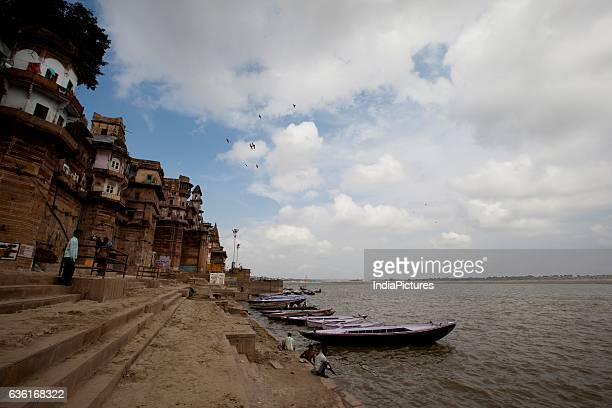 Boats Moored at the Ghats of The River Ganges