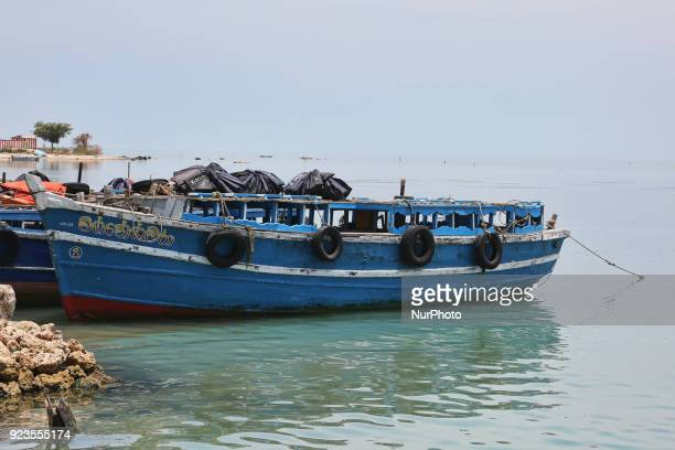Boats moored at the harbour on Nainativu Island in the Jaffna region of Sri Lanka