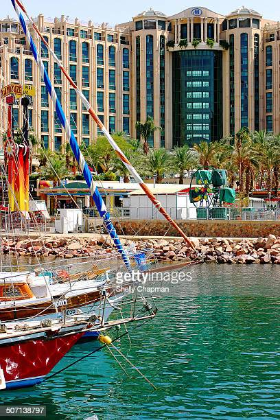 CONTENT] Boats moored at the marina in Eilat At the background is one of the many hotels in the most southern city in Israel
