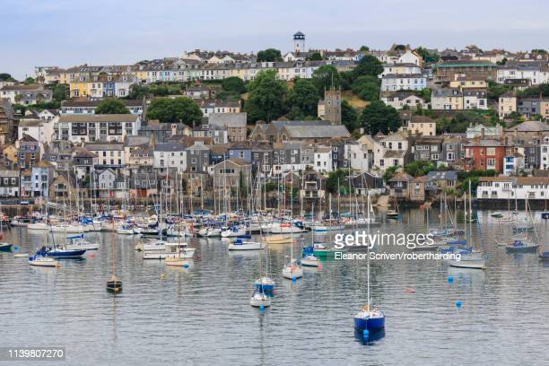 boats moored by falmouth in cornwall, england, europe - ファルマス ストックフォトと画像