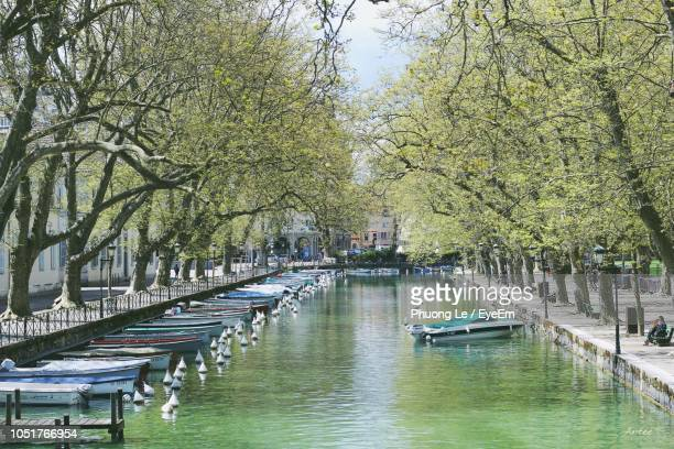 boats moored in canal amidst trees in city - annecy fotografías e imágenes de stock
