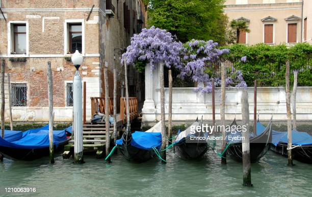 boats moored in canal by buildings in city - enrico aliberti stock-fotos und bilder