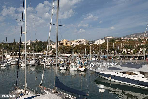 Boats moored in Funchal Marina