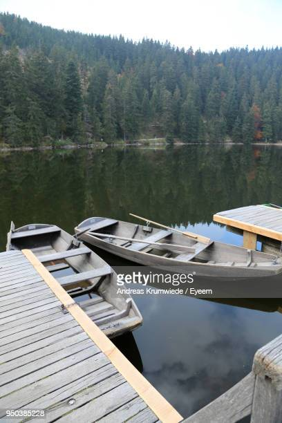 Boats Moored In Lake Against Trees In Forest